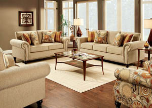 Rollins Tan Sofa and Loveseat