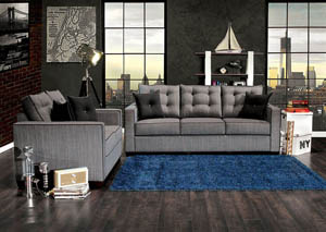 Ravel I Gray Sofa and Loveseat w/4 pcs Pillow
