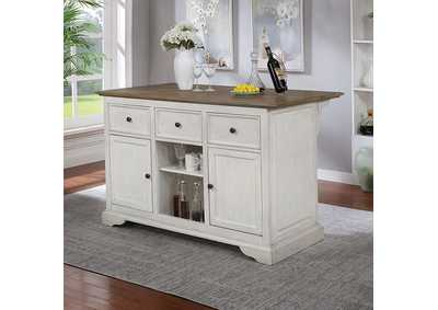 Scobey White Kitchen Island