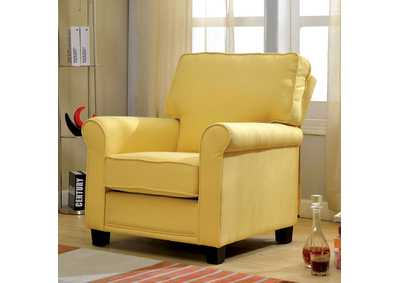 Image for Belem Yellow Accent Chair w/Rolled Arms