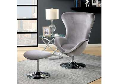 Image for Shelia Gray Accent Chair w/Ottoman
