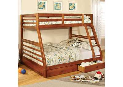 Image for California lll Oak Twin/Full Bunk Bed w/2 Drawers