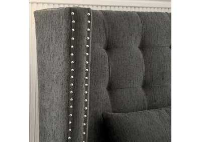 Image for Amora Gray Wingback Loveseat w/Nailhead Trim & 2 Pillows
