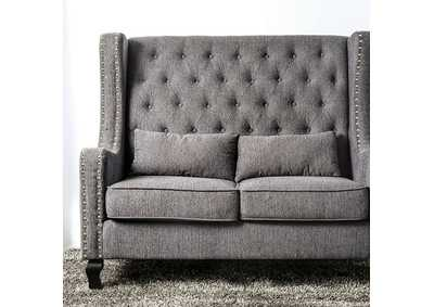 Alicante Grey Loveseat W/ Nailhead Accent