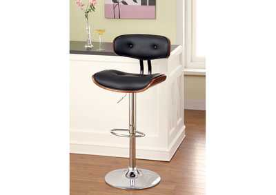 Image for Boa Leatherette Curved-Back Swivel Barstool w/Wood Trim