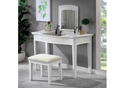 Stina White Vanity W/ Stool