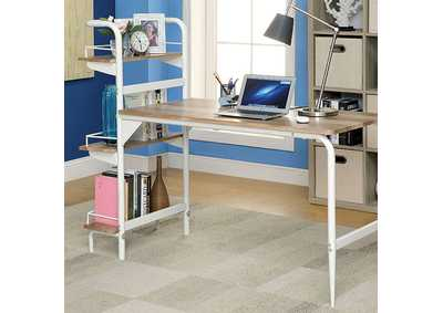 Maisy Chrome Computer Desk w/Bookshelf