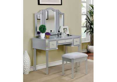 Image for Clarisse Silver Vanity w/Stool