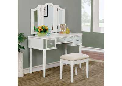 Image for Clarisse White Vanity w/Stool