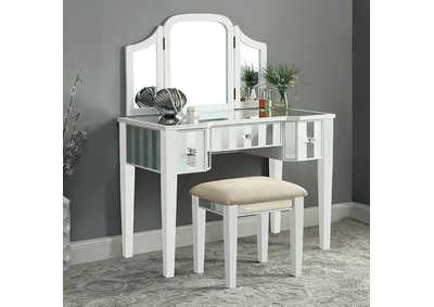 Image for Cindi White Vanity w/Stool