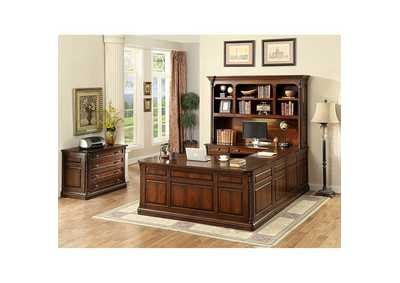 Lavinia Dark Oak Connect Desk w/Office, Credenza and Hutch