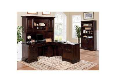 Tami Dark Walnut Credenza Desk w/Hutch