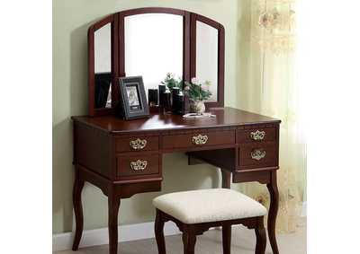 Image for Ashland Cherry Vanity w/Padded Stool