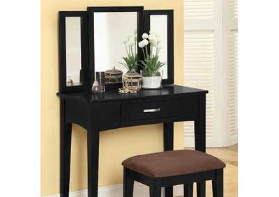 Image for Potterville Black Vanity Table w/Padded Stool