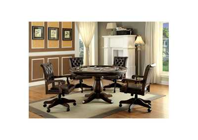 Kalia Brown Game Table w/4 Arm Chairs