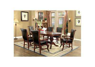 Melina Brown Cherry Game Table w/6 Arm Chairs