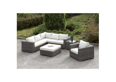 Image for Somani Light Gray/Ivory Wicker L-Sectional  w/Chair, Coffee Table & End Table