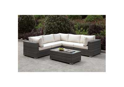 Image for Somani Light Gray/Ivory Wicker L-Sectional & Coffee Table