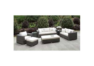Image for Somani Light Gray/Ivory Wicker 3 Piece Patio Set (2 End Tables, Ottoman & Bench)