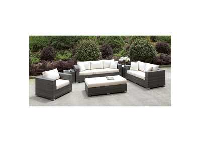 Image for Somani Light Gray/Ivory Wicker 3 Piece Patio Set (Bench & 2 End Tables)