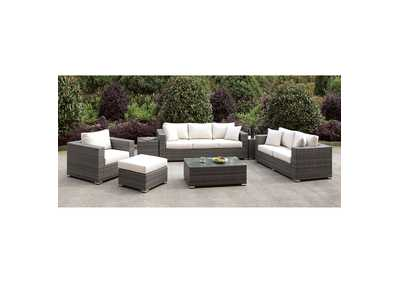 Image for Somani Light Gray/Ivory Wicker 3 Piece Patio Set (Ottoman, Bench & 2 End Tables)
