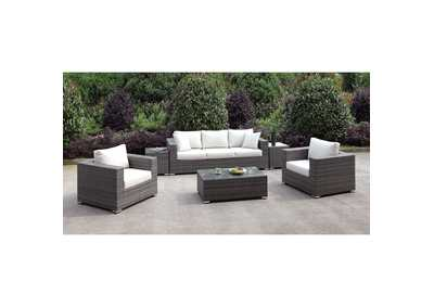 Image for Somani Light Gray/Ivory Wicker Patio Set (Sofa, 2 Chair, 2 End Tables & Coffee Table)