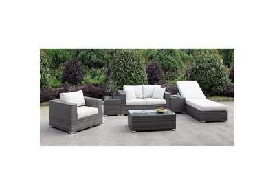 Image for Somani Light Gray/Ivory Wicker Patio Set (Loveseat, Chair, Adj Chaise, 2 End Tables & Coffee Table)