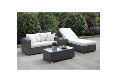 Image for Somani Light Gray/Ivory Wicker Patio Set (Loveseat, ADJ Chaise, End Table & Coffee Table)