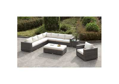 Image for Somani Light Gray/Ivory Wicker L-Sectional w/Chair & Ottoman