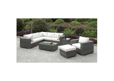 Image for Somani Light Gray/Ivory Wicker L-Sectional w/Chair, Ottoman & Coffee Table