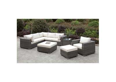 Image for Somani Light Gray/Ivory Wicker L-Sectional w/Chair & 2 Ottomans