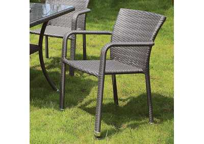 Ayesha Gray Arm Chair (Set of 4)