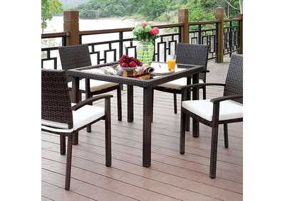 Shania Brown/White Patio Dining Table