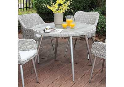 Shivani Silver/Gray Round Patio Dining Table