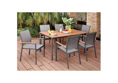 Oshawa Oak/Gray Patio Dining Table w/6 Arm Chairs