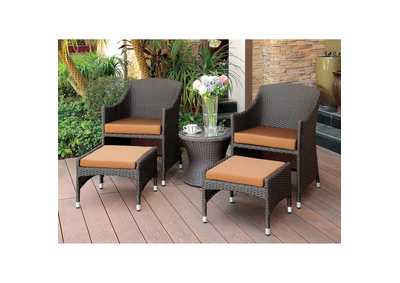 Image for Almada Brown/Espresso Arm Chair w/Nesting Ottoman