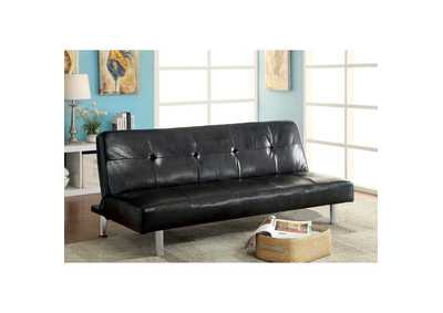 Image for Eddi Black Leatherette Futon Sofa