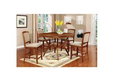 Redding II Oak Counter Height Table w/4 Counter Height Chairs