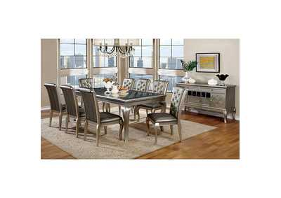 Amina Silver Dining Table w/Glass-Inserts