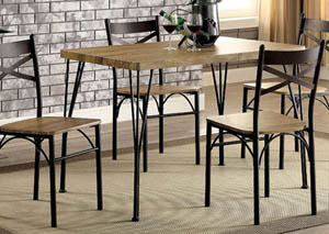 Banbury Gray/Dark Bronze 5 Piece Dining Table Set