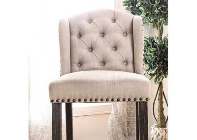 Image for Sania II Antique Black/Beige Wingback Bar Chair (Set of 2)