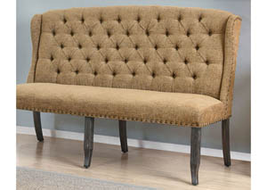 Sania III Gold Upholstered 3-Seater Loveseat Bench