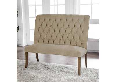 Image for Sania III Upholstered Beige Loveseat Bench