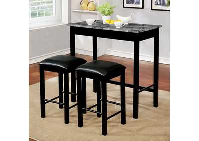 Caldas Black 3 Piece Counter Height Dining Set W/ 2 Stools