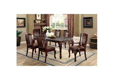 Johannesburg I Brown Cherry Faux Marble Dining Table W 4 Side Chairs