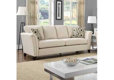 Image for Campbell Ivory Sofa w/Accent Pillows