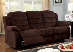 Millville Dark Brown Chenille Motion Sofa