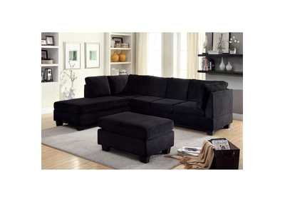 Image for Lomma Black Flannelette Sectional