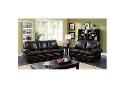 Image for Reinhardt Dark Brown Sofa and Loveseat