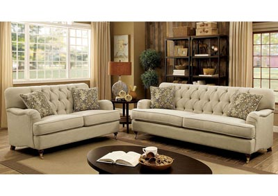Laney Beige Sofa and Loveseat